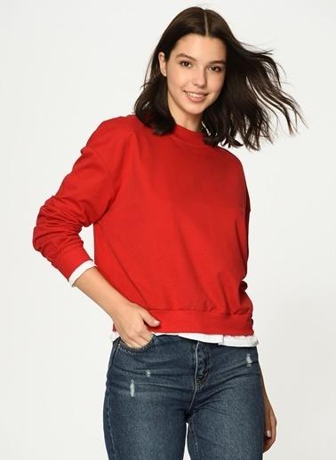 Loves You T-Shirt Garnili Bisiklet Yaka Sweatshirt Kırmızı
